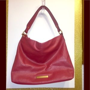 Anne Klein's Red Simulated Leather Zippered Tote